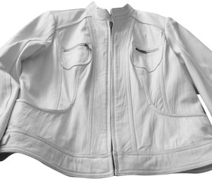 Alfani Light Cream Leather Jacket