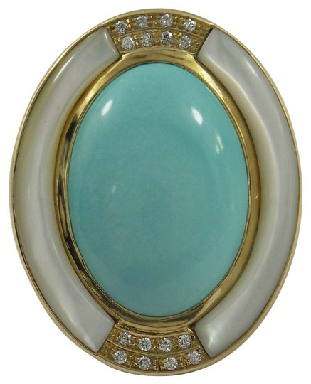 Preload https://item5.tradesy.com/images/unknown-mother-of-pearl-turquoise-diamond-gold-ring-4192864-0-0.jpg?width=440&height=440