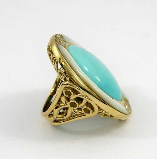 Other Mother of Pearl Turquoise Diamond Gold Ring