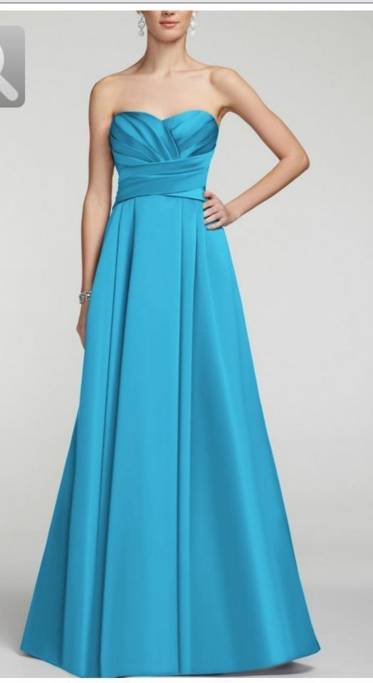 David S Bridal Malibu Blue Satin Strapless Pleated Bodice Ball Gown F15554 Formal Bridesmaid Mob Dress Size 4 S 40 Off Retail