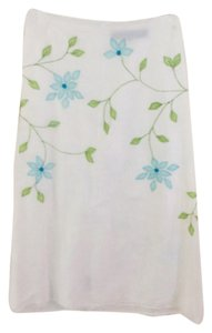 French Connection Maxi Skirt White linen with blue and green embroidery
