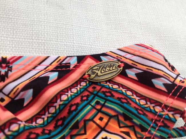 Hobie Hobie Bikini Bottom Salmon Multi Tribal Print Side Tie String Swim Pant