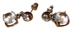 Swarovski GENUINE SWAROVSKI CRYSTAL ROUND RHODIUM-PLATED DANGLE STYLE PIERCED EARRINGS