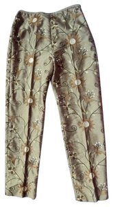 Karen Kane Silk Embroidered Capri Capri/Cropped Pants Gold