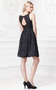 Black Zac Posen Short Soutache Ribbon Embroidered With Pockets Dress