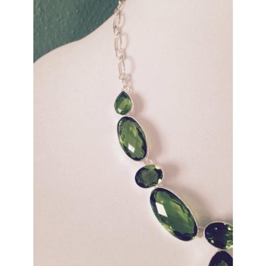 My Closet- Embellished by Leecia Embellished by Leecia Checkerboard Faceted Peridot Gemstone In Sterling Necklace