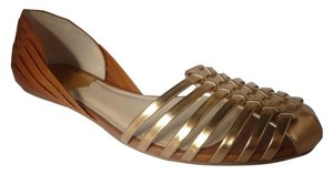 Vince Camuto Leather Sandal Copper/Saddle Flats