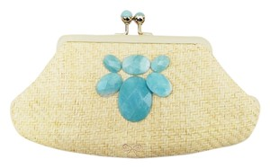 Anya Hindmarch Semi-precious Stones Blue Natural Suzette Naplak Handbag Woven Beige Clutch