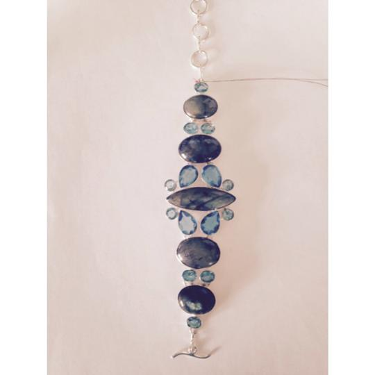 My Closet- Embellished by Leecia Embellished by Leecia AAA Blue Labradorite & Swiss Blue Topaz In Sterling Bracelet