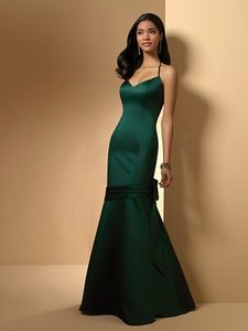 Alfred Angelo Hunter Green Satin Style 7010 Formal Bridesmaid/Mob Dress Size 10 (M)