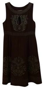 Nanette Lepore Embroidered Silk Keyhole A-line Dress