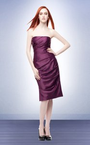 Bill Levkoff Purple Satin 134 Bridesmaid/Mob Dress Size 8 (M)