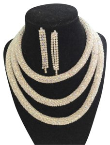 3 Layer Silver Rhinestone Necklace