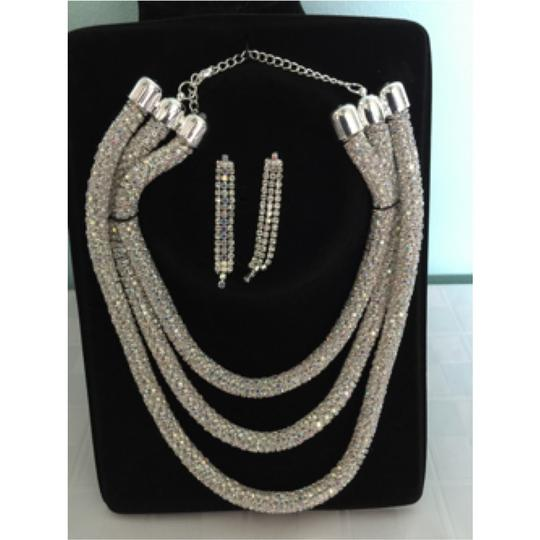 Other 3 Layer Silver Rhinestone Necklace