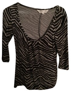 Trina Turk Zebra 3/4 Sleeves Top Black & Gray