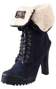 Philip Simon Suede Foldover Leather Fur Black Boots