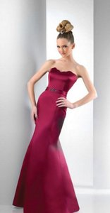 Bari Jay Wine Red Satin 115 Formal Bridesmaid/Mob Dress Size 10 (M)