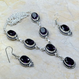 2pc Antiqued Amethyst Gemstone Necklace Earring Set Free Shipping