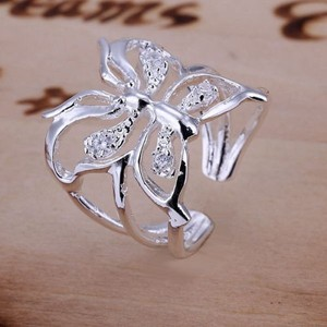 Sterling Plated Butterfly White Topaz Accent Ring Free Shipping