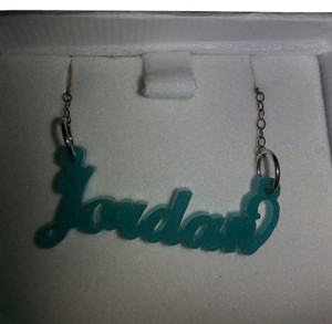 initial reaction Blue JORDAN Name Necklace by Initial Reacton