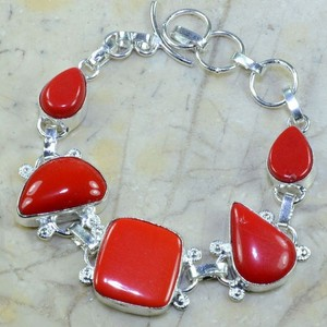 Red Coral Silver Bracelet Free Shipping