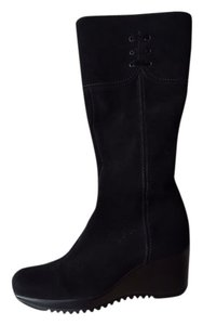 La Canadienne Suede Wedge Snow Black Boots