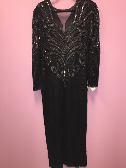 Preload https://item1.tradesy.com/images/laurence-kazar-black-sequin-dressout-of-the-attic-formal-bridesmaidmob-dress-size-10-m-4198165-0-0.jpg?width=440&height=440