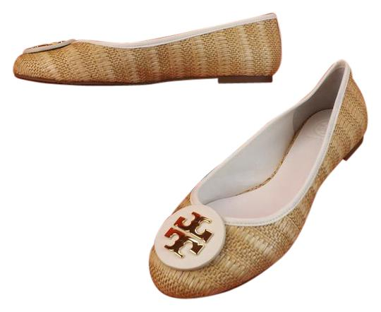 Preload https://item2.tradesy.com/images/tory-burch-whitenatural-leather-straw-raffia-big-gold-reva-ballet-flats-size-eu-405-approx-us-105-re-4198186-0-2.jpg?width=440&height=440