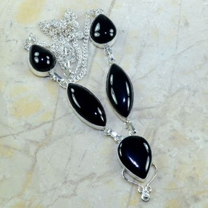 Black Onyx Silver Necklace Free Shipping