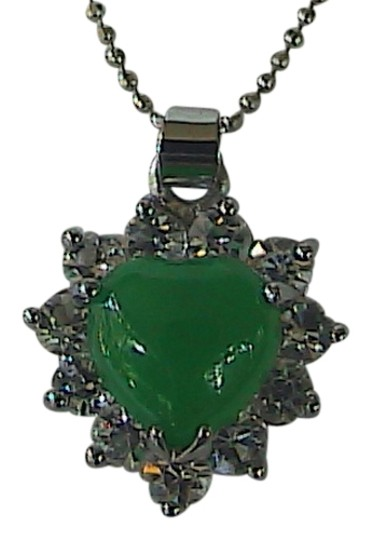 Other 18k GP Faux Jade Clear Stone Heart Necklace