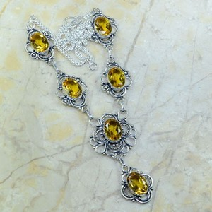Vintage Style Antiqued Citrine Necklace Free Shipping