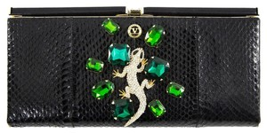 Valentino Vintage Python Leather Snake Black Clutch