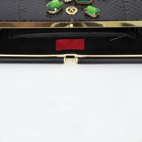 Valentino Vintage Python Leather Snake Cz Crystals Gilt Metal Black Clutch