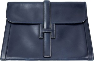 Hermès Vintage Leather Jige Gm Navy Navy Blue Clutch