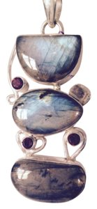 Embellished by Leecia Blue Labradorite & Mozambique Garnet In Sterling Pendant