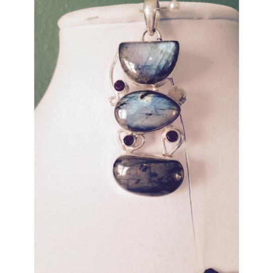 My Closet- Embellished by Leecia Embellished by Leecia Blue Labradorite & Mozambique Garnet In Sterling Pendant