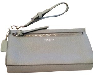 Coach Large Leather Wristlet in Blue