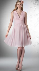 Bari Jay Petal Pink Chiffon 728 Formal Bridesmaid/Mob Dress Size 8 (M)