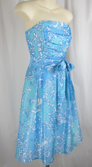 Lilly Pulitzer Floral Strapless Aqua Silk Ruched Dress