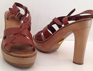 Chloé Chloe Leather Open Toe Platforms High Heels K Brown Sandals