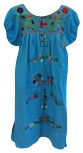 Vintage Mexican short dress Turquoise Hand-embroidered Cotton on Tradesy