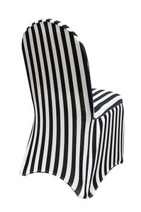 Spandex Stretch Black And White Stripe Banquet Chair Covers