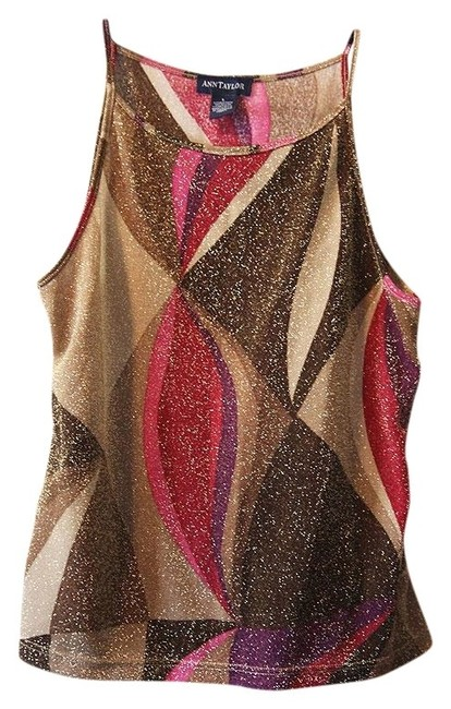 Ann Taylor Top Brown and Gold