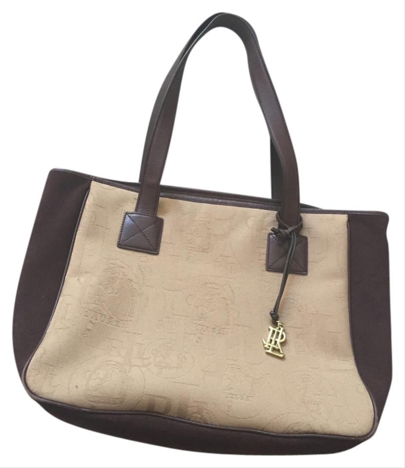 Ralph Lauren Classic Tan Brown Cotton Suede Leather Tote - Tradesy 94f6a9ac38599