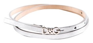 Dolce&Gabbana Authentic D&G LOGO DOLCE & GABBANA SILVER LEATHER BELT