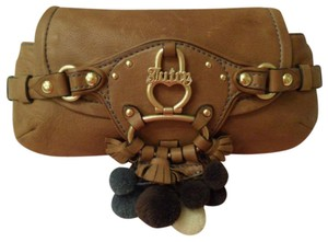 Juicy Couture Tassel Leather Beige Clutch