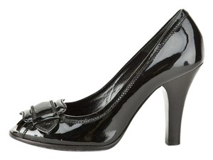 Fendi Peep Toe Patent Leather Heels Black Pumps