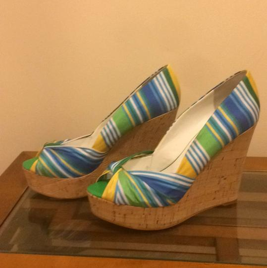 Nine West Blues, green, yellow stripes Wedges
