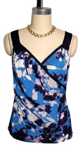 Elie Tahari Tank Floral Camisole Top Blue / Black / Purple