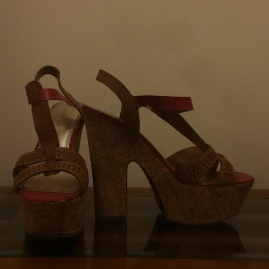 Bakers Brown leather with maroon accents Platforms